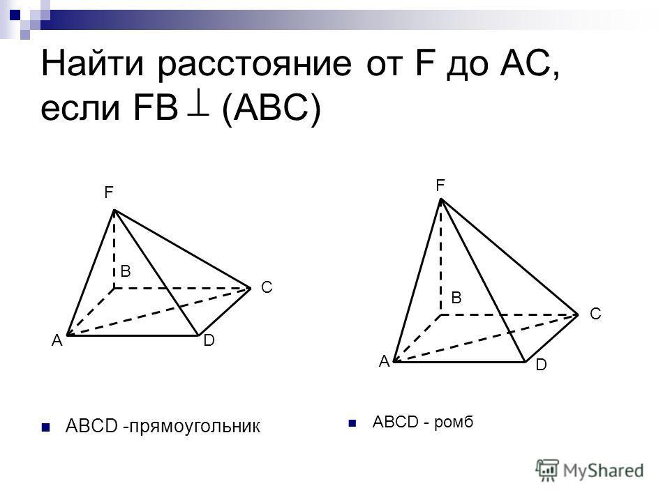 Найти расстояние от F до АС, если FB (ABC) ABCD -прямоугольник ABCD - ромб F A B C D А F B C D