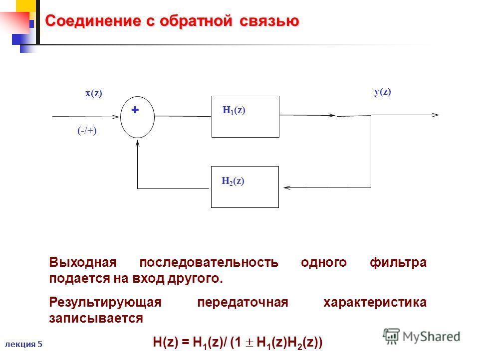 лекция 5 Соединение с обратной связью Выходная последовательность одного фильтра подается на вход другого. Результирующая передаточная характеристика записывается H(z) = H 1 (z)/ (1 H 1 (z)H 2 (z)) x(z) y(z) + (-/+) H 1 (z) H 2 (z)