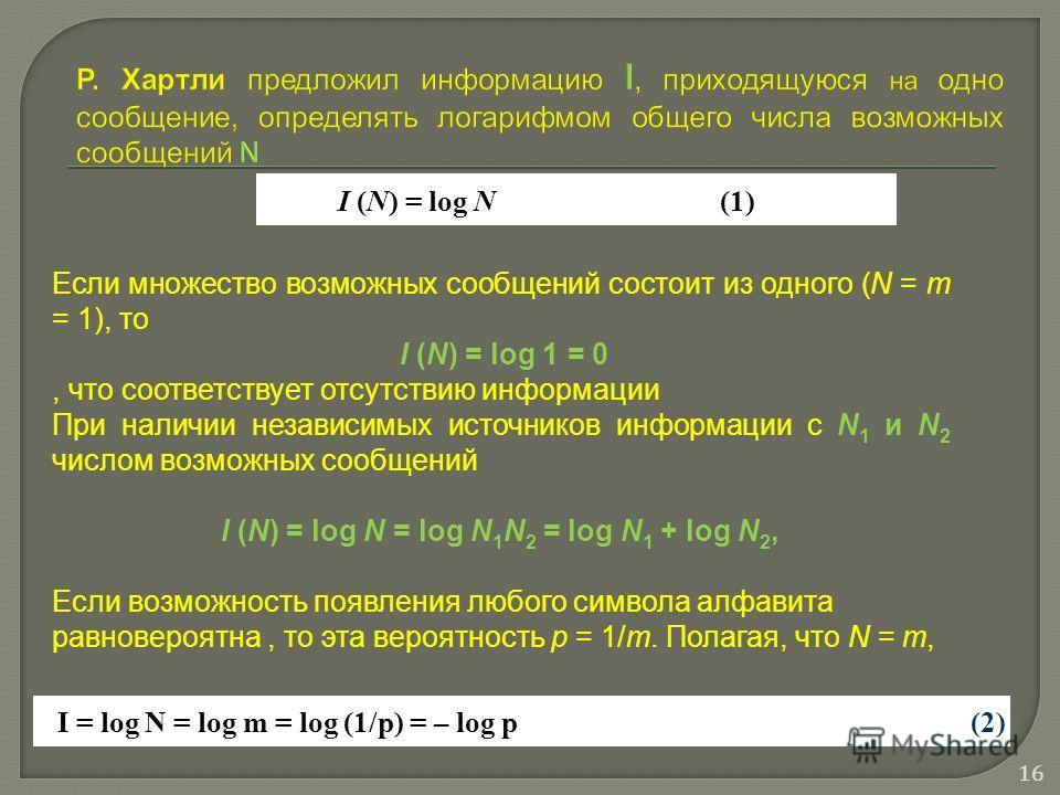 I (N) = log N(1) I = log N = log m = log (1/p) = – log p(2) Если множество возможных сообщений состоит из одного (N = m = 1), то I (N) = log 1 = 0, что соответствует отсутствию информации При наличии независимых источников информации с N 1 и N 2 числ