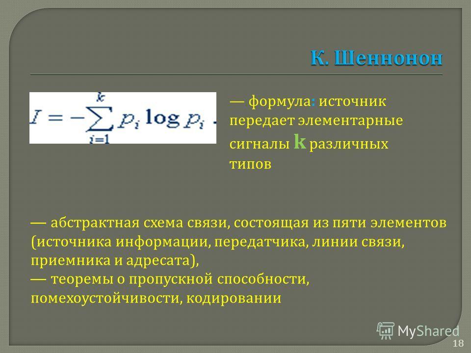 формула: источник передает элементарные сигналы k различных типов абстрактная схема связи, состоящая из пяти элементов (источника информации, передатчика, линии связи, приемника и адресата), теоремы о пропускной способности, помехоустойчивости, кодир