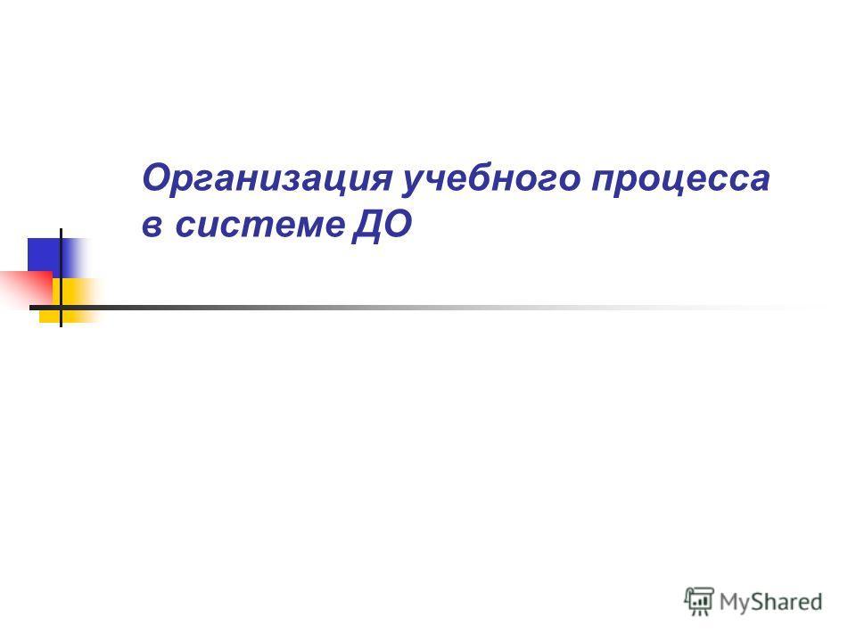 Организация учебного процесса в системе ДО