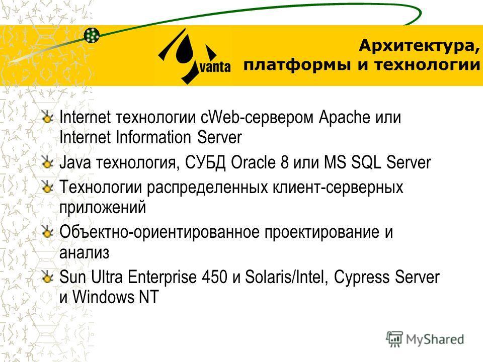 Архитектура, платформы и технологии Internet технологии сWeb-сервером Apache или Internet Information Server Java технология, СУБД Oracle 8 или MS SQL Server Технологии распределенных клиент-серверных приложений Объектно-ориентированное проектировани
