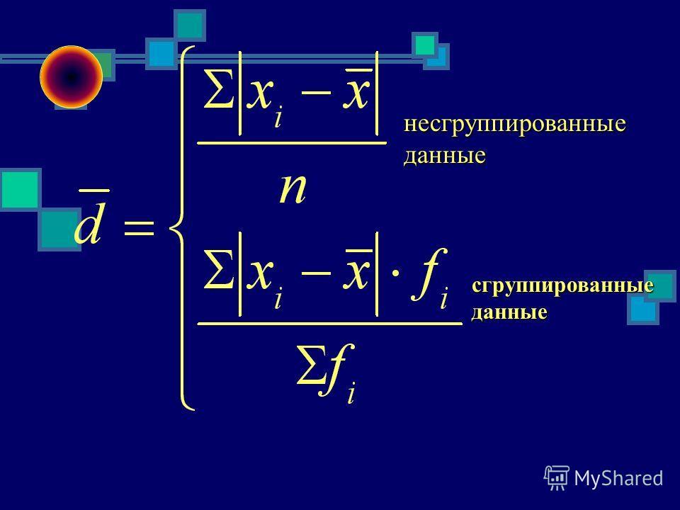 Среднее квадратическое отклонение отклонение ОБОБЩЕНИЯ КОЛЕБАНИЙ ПРИЗНАКА Среднее линейное отклонение