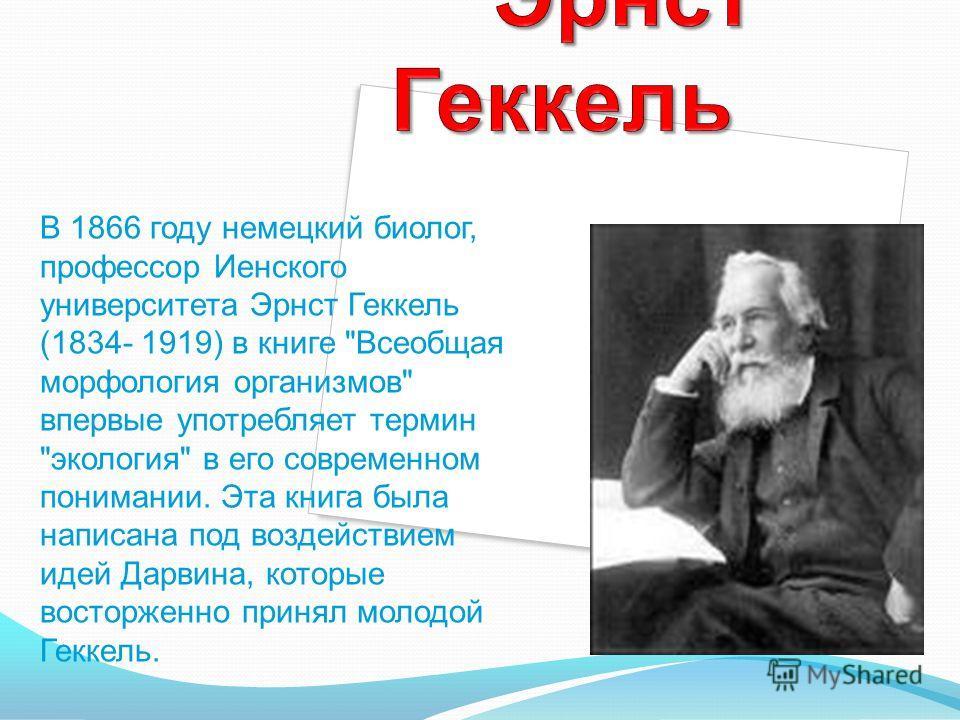 В 1866 году немецкий биолог, профессор Иенского университета Эрнст Геккель (1834- 1919) в книге