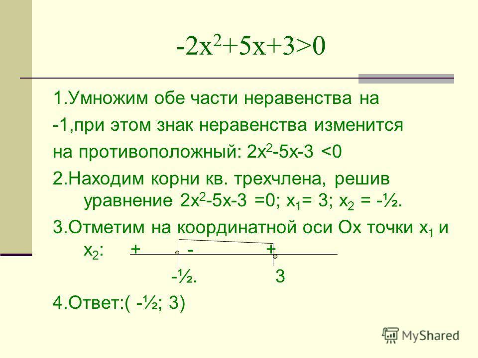 -2х 2 +5х+3>0 1.Умножим обе части неравенства на -1,при этом знак неравенства изменится на противоположный: 2х 2 -5х-3