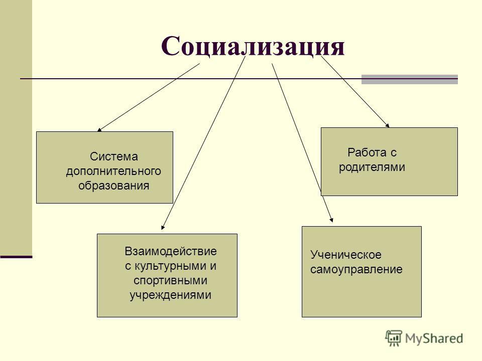 Социализация Система дополнительного образования Работа с родителями Ученическое самоуправление Взаимодействие с культурными и спортивными учреждениями