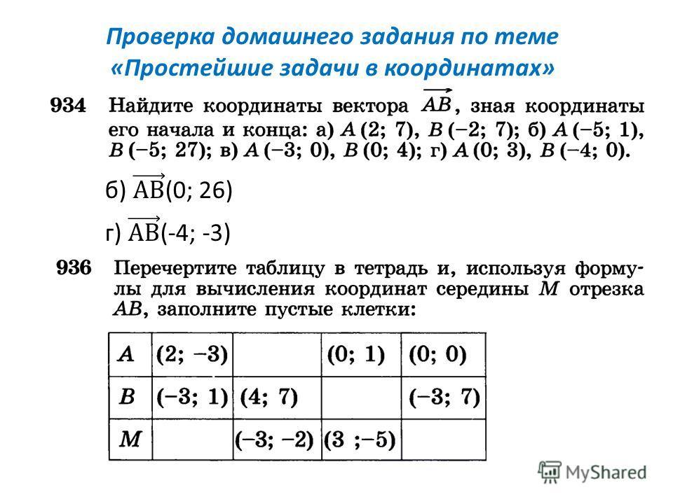 Проверка домашнего задания по теме «Простейшие задачи в координатах»