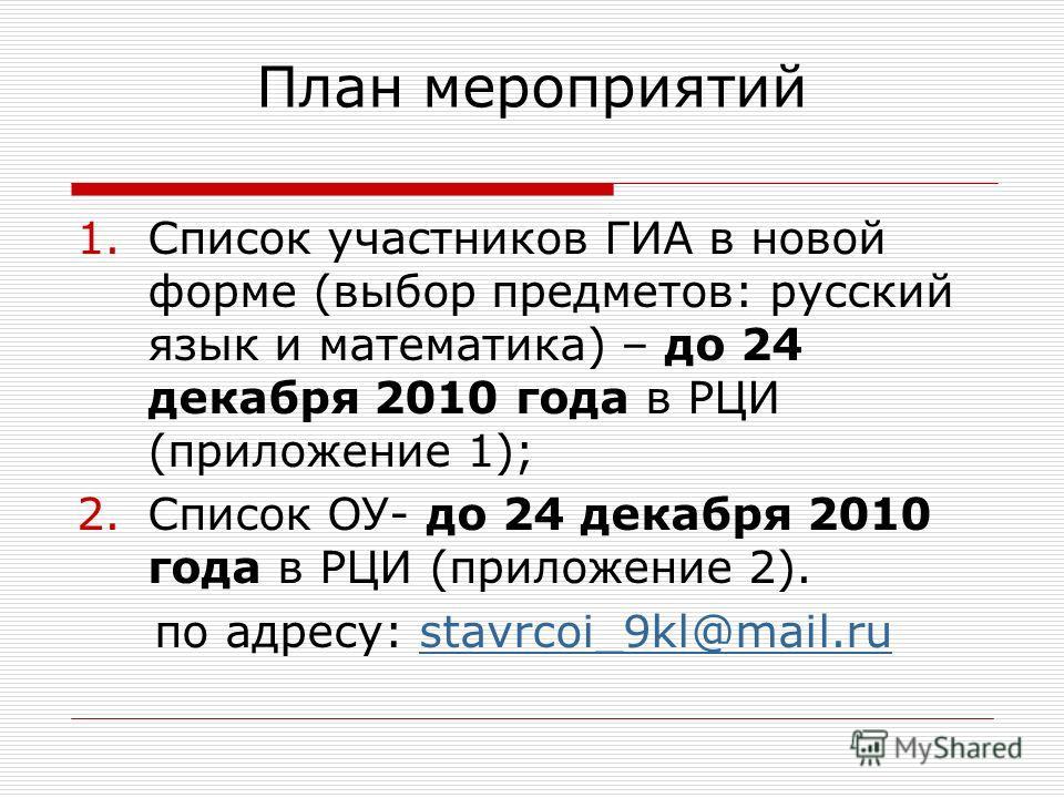 План мероприятий 1.Список участников ГИА в новой форме (выбор предметов: русский язык и математика) – до 24 декабря 2010 года в РЦИ (приложение 1); 2.Список ОУ- до 24 декабря 2010 года в РЦИ (приложение 2). по адресу: stavrcoi_9kl@mail.rustavrcoi_9kl