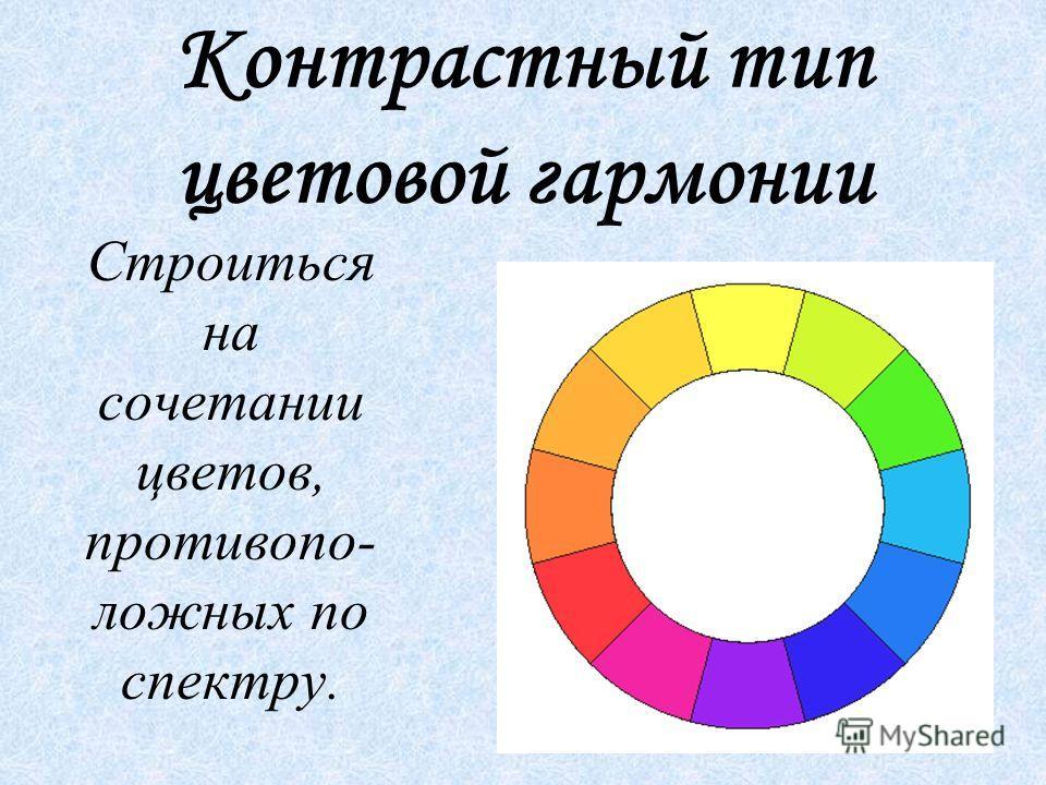 Контрастный тип цветовой гармонии Строиться на сочетании цветов, противопо- ложных по спектру.