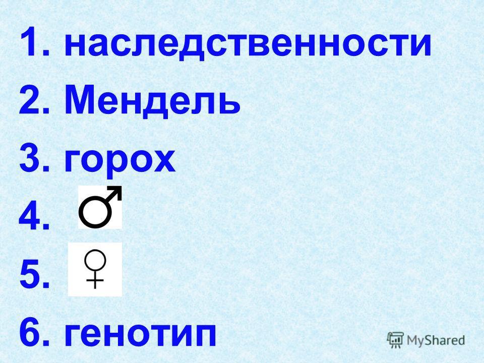1. наследственности 2. Мендель 3. горох 4. 5. 6. генотип