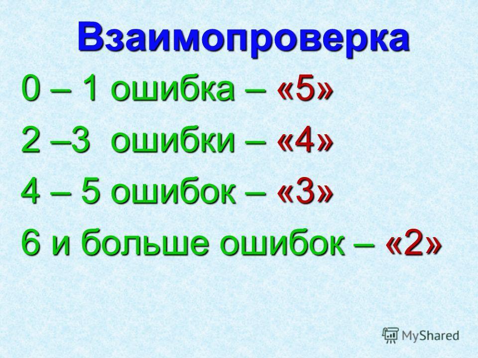 Взаимопроверка 0 – 1 ошибка – «5» 2 –3 ошибки – «4» 4 – 5 ошибок – «3» 6 и больше ошибок – «2»