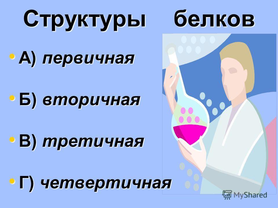 Структуры белков А) первичная А) первичная Б) вторичная Б) вторичная В) третичная В) третичная Г) четвертичная Г) четвертичная