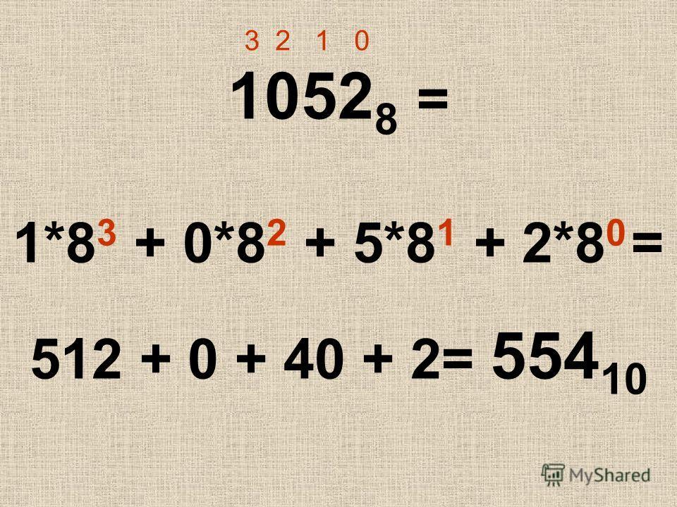 1052 8 = 1*8 3 + 0*8 2 + 5*8 1 + 2*8 0 = 512 + 0 + 40 + 2= 554 10 3 2 1 0