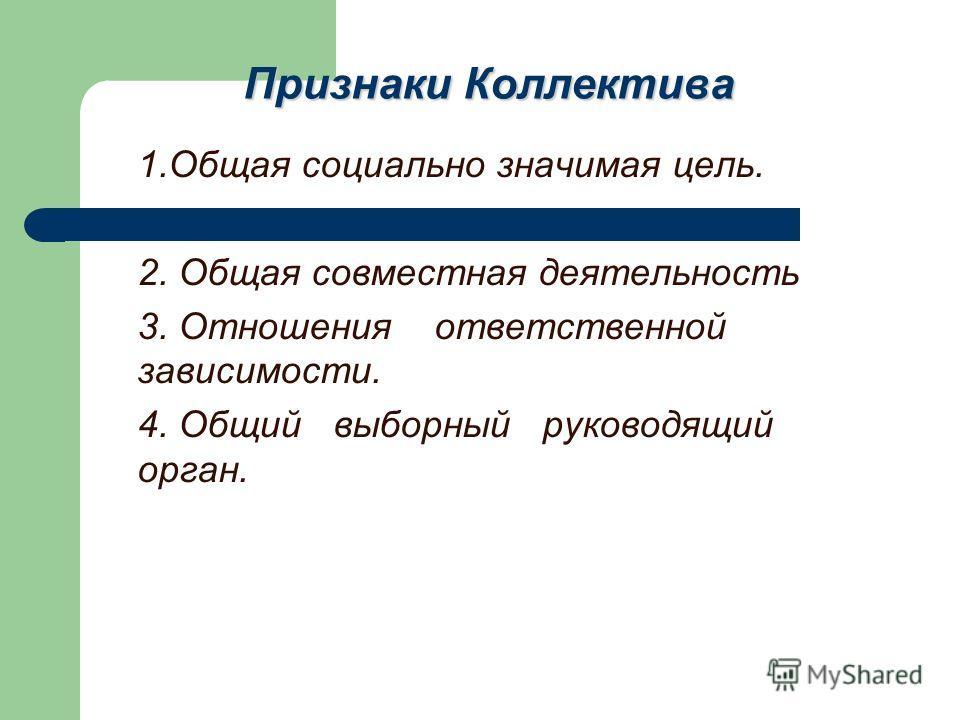 Признаки Коллектива 1.Общая социально значимая цель. 2. Общая совместная деятельность 3. Отношения ответственной зависимости. 4. Общий выборный руководящий орган.