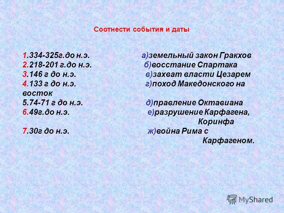 Соотнести события и даты 1.334-325г.до н.э. а)земельный закон Гракхов 2.218-201 г.до н.э. б)восстание Спартака 3.146 г до н.э. в)захват власти Цезарем 4.133 г до н.э. г)поход Македонского на восток 5.74-71 г до н.э. д)правление Октавиана 6.49г.до н.э
