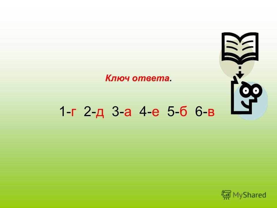 Ключ ответа. 1-г 2-д 3-а 4-е 5-б 6-в