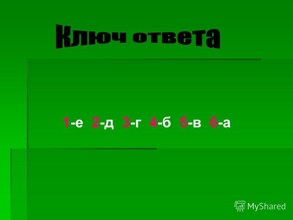 1-е 2-д 3-г 4-б 5-в 6-а