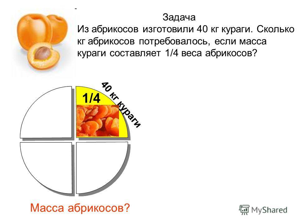 1/4 40 кг кураги Масса абрикосов?
