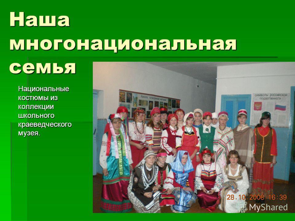 Наша многонациональная семья Национальные костюмы из коллекции школьного краеведческого музея.
