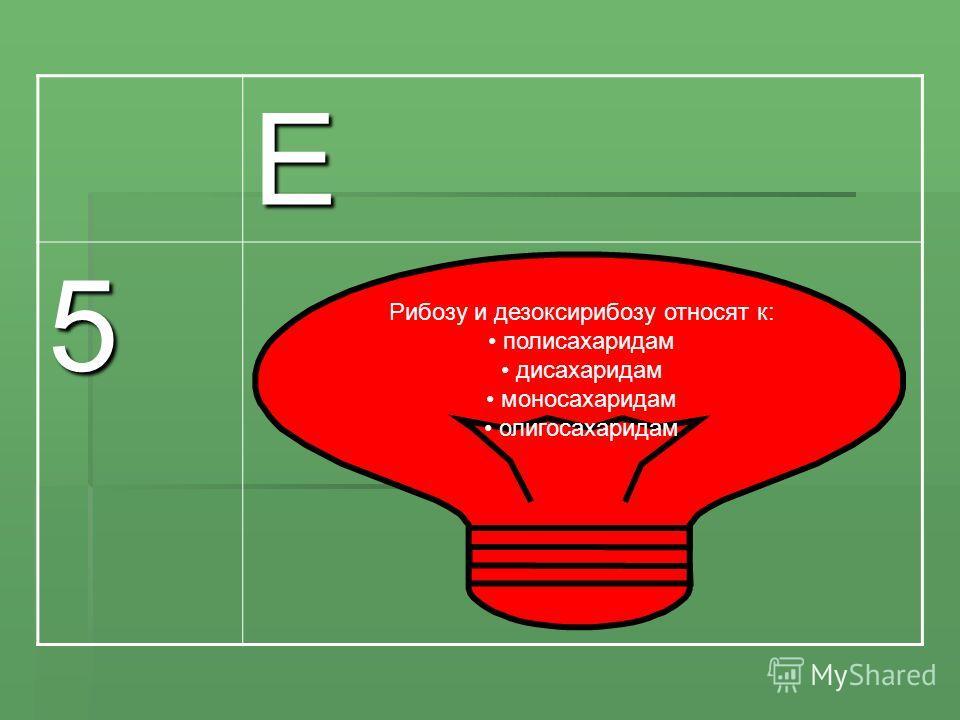 Е 5 Рибозу и дезоксирибозу относят к: полисахаридам дисахаридам моносахаридам олигосахаридам