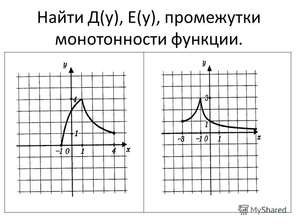 Найти Д(у), Е(у), промежутки монотонности функции.