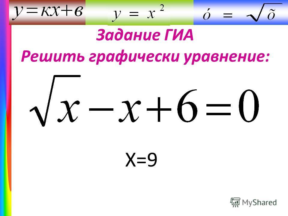 Задание ГИА Решить графически уравнение: Х=9