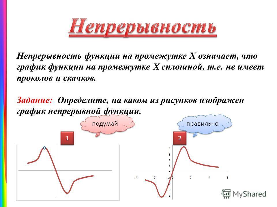Непрерывность функции на промежутке Х означает, что график функции на промежутке Х сплошной, т.е. не имеет проколов и скачков. Задание: Определите, на каком из рисунков изображен график непрерывной функции. 1 1 2 2 подумай правильно