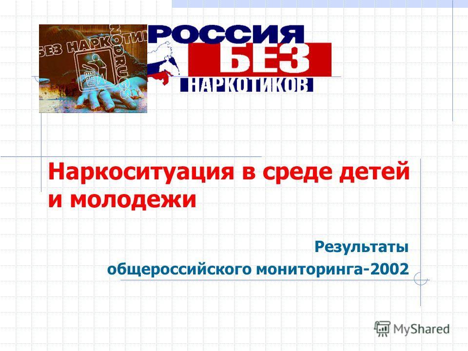 Наркоситуация в среде детей и молодежи Результаты общероссийского мониторинга-2002