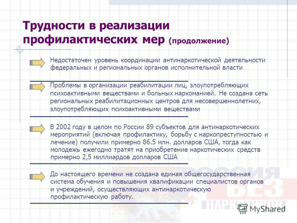 Трудности в реализации профилактических мер (продолжение) В 2002 году в целом по России 89 субъектов для антинаркотических мероприятий (включая профилактику, борьбу с наркопреступностью и лечение) получили примерно 86.5 млн. долларов США, тогда как м