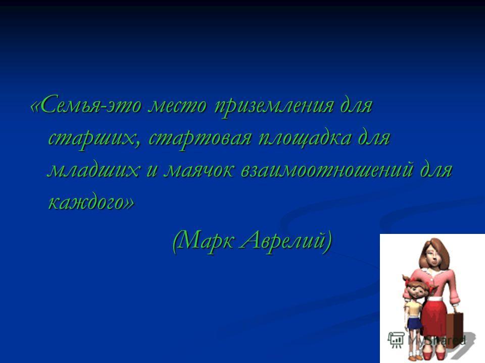 «Семья-это место приземления для старших, стартовая площадка для младших и маячок взаимоотношений для каждого» (Марк Аврелий) (Марк Аврелий)