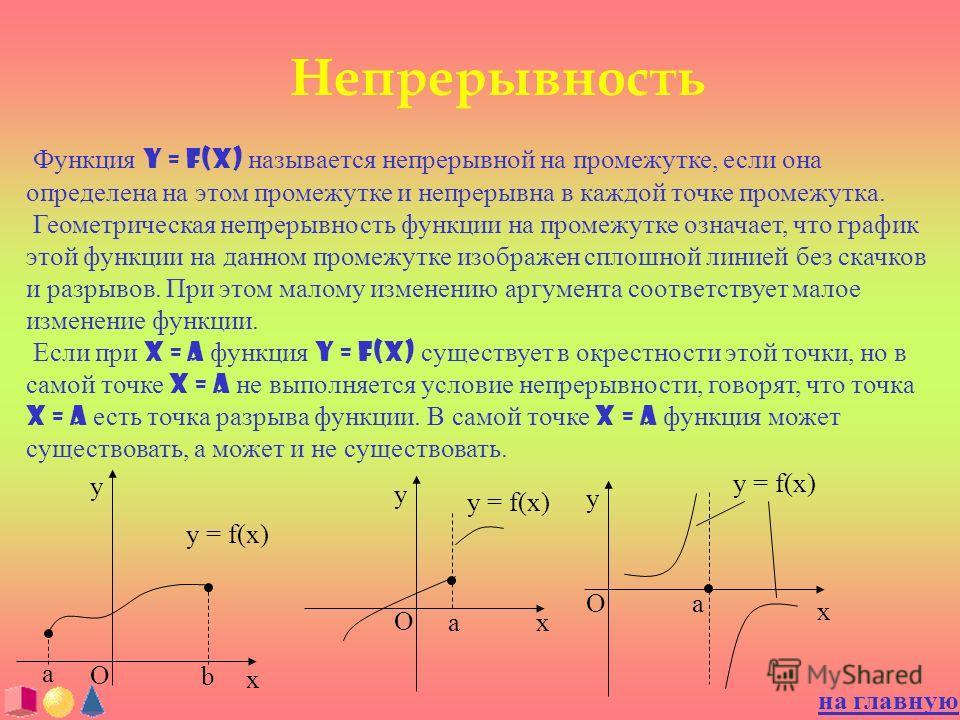 Непрерывность Функция y = f(x) называется непрерывной на промежутке, если она определена на этом промежутке и непрерывна в каждой точке промежутка. Геометрическая непрерывность функции на промежутке означает, что график этой функции на данном промежу