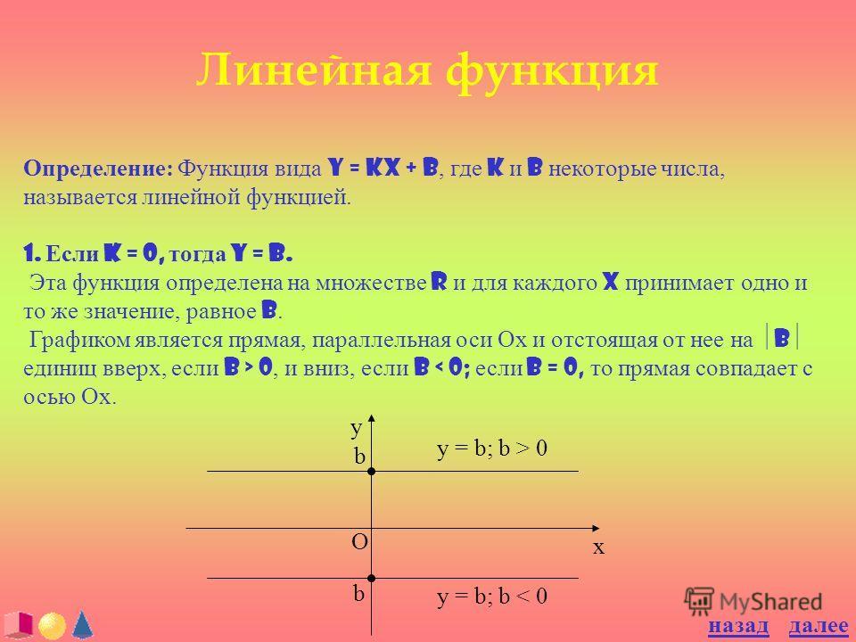 Линейная функция Определение: Функция вида y = kx + b, где k и b некоторые числа, называется линейной функцией. 1. Если k = 0, тогда y = b. Эта функция определена на множестве R и для каждого X принимает одно и то же значение, равное b. Графиком явля