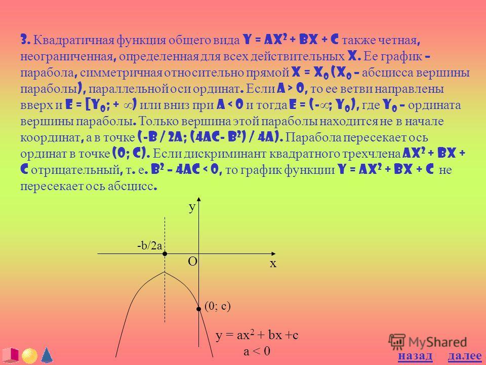 3. Квадратичная функция общего вида y = ax 2 + bx + c также четная, неограниченная, определенная для всех действительных x. Ее график – парабола, симметричная относительно прямой x = x 0 (x 0 – абсцисса вершины параболы ), параллельной оси ординат. Е
