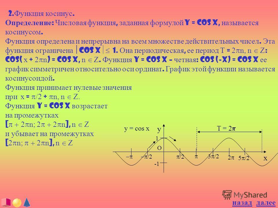 2. Функция косинус. Определение : Числовая функция, заданная формулой y = cos x, называется косинусом. Функция определена и непрерывна на всем множестве действительных чисел. Эта функция ограничена cos x 1. Она периодическая, ее период T = 2 n, n Z :