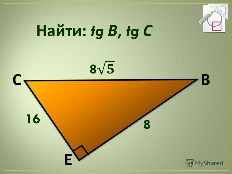 Найти : tg В, tg С 16 8 СВ Е