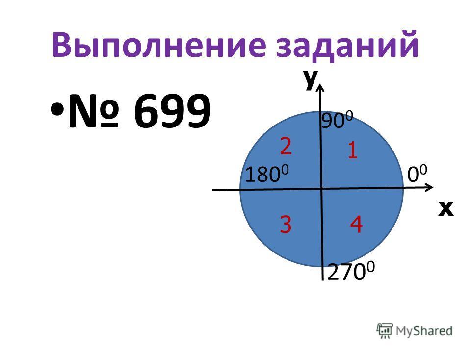 х у Выполнение заданий 699 90 0 180 0 0 0 270 0 1 2 34