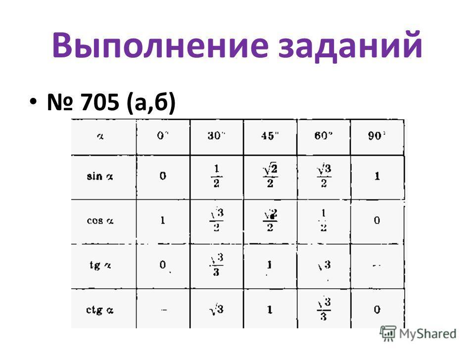 Выполнение заданий 705 (а,б)