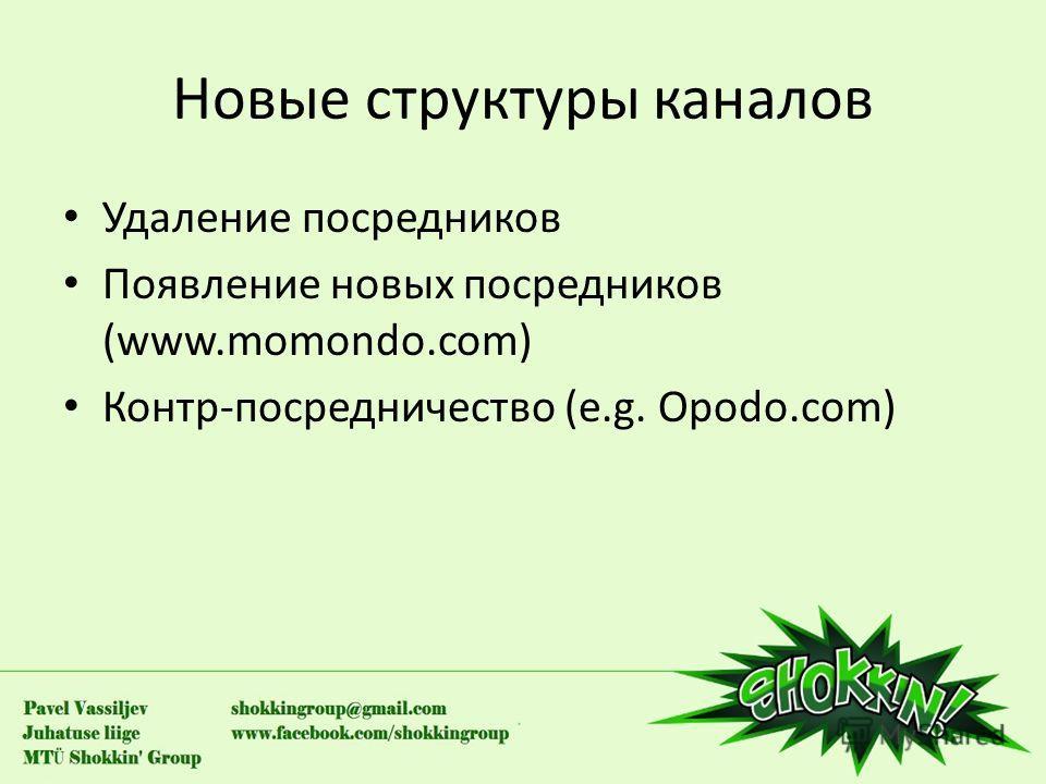 Новые структуры каналов Удаление посредников Появление новых посредников (www.momondo.com) Контр-посредничество (e.g. Opodo.com)