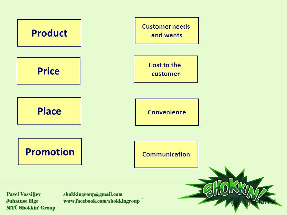 Product Price Place Promotion Convenience Communication Cost to the customer Customer needs and wants