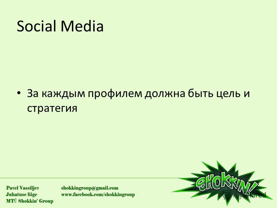 Social Media За каждым профилем должна быть цель и стратегия