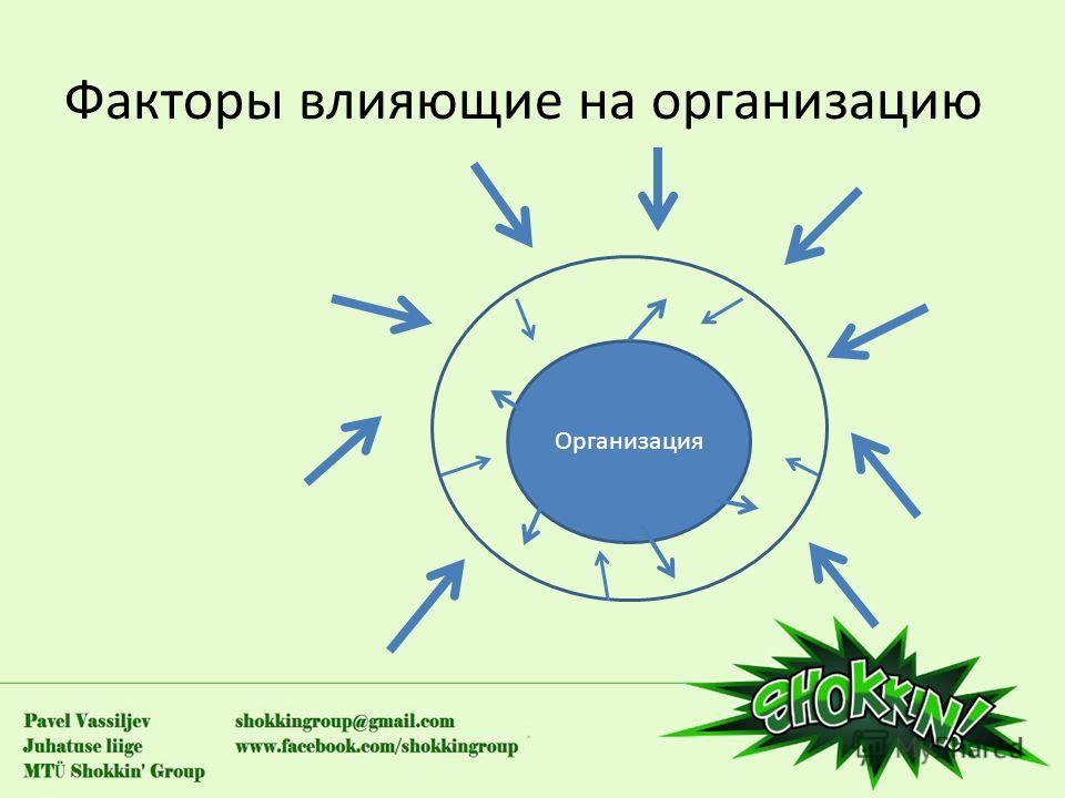 Факторы влияющие на организацию Организация