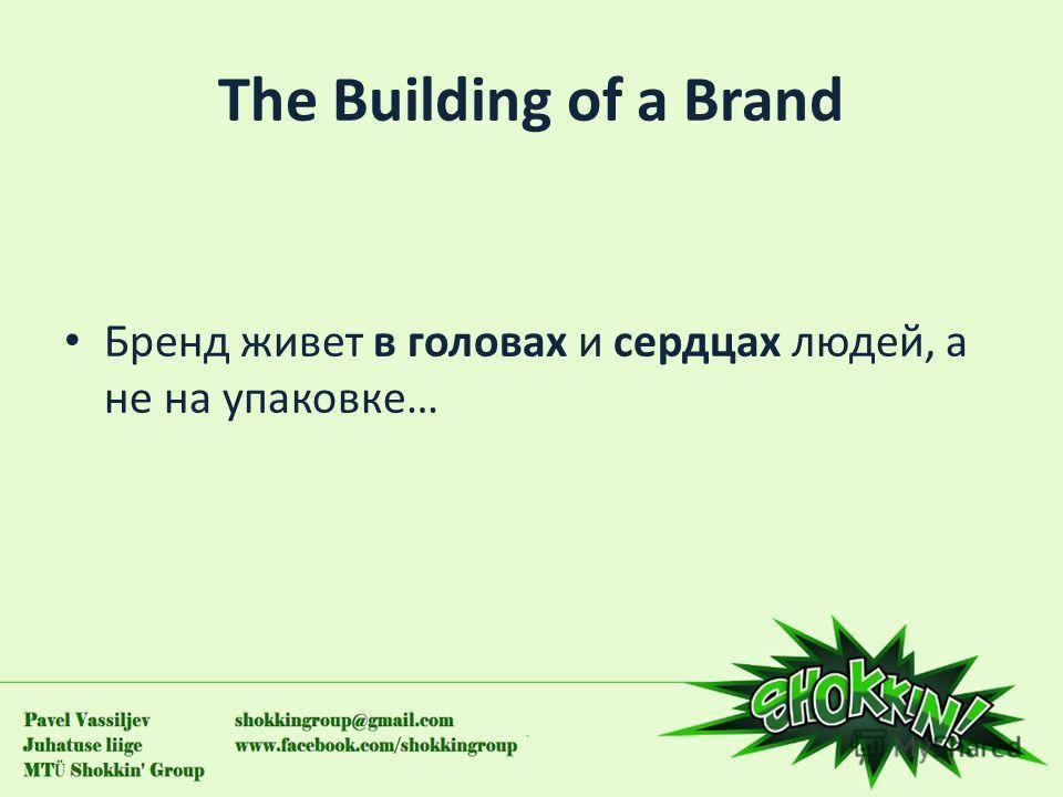 The Building оf a Brand Бренд живет в головах и сердцах людей, а не на упаковке…