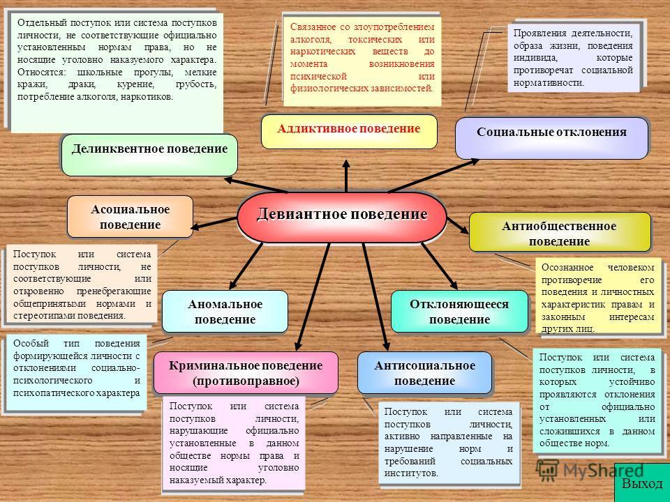 Девиантное поведение Социальные отклонения Делинквентное поведение Аддиктивное поведение Асоциальное поведение Аномальное поведение Криминальное поведение (противоправное) Криминальное поведение (противоправное) Антисоциальное поведение Отклоняющееся