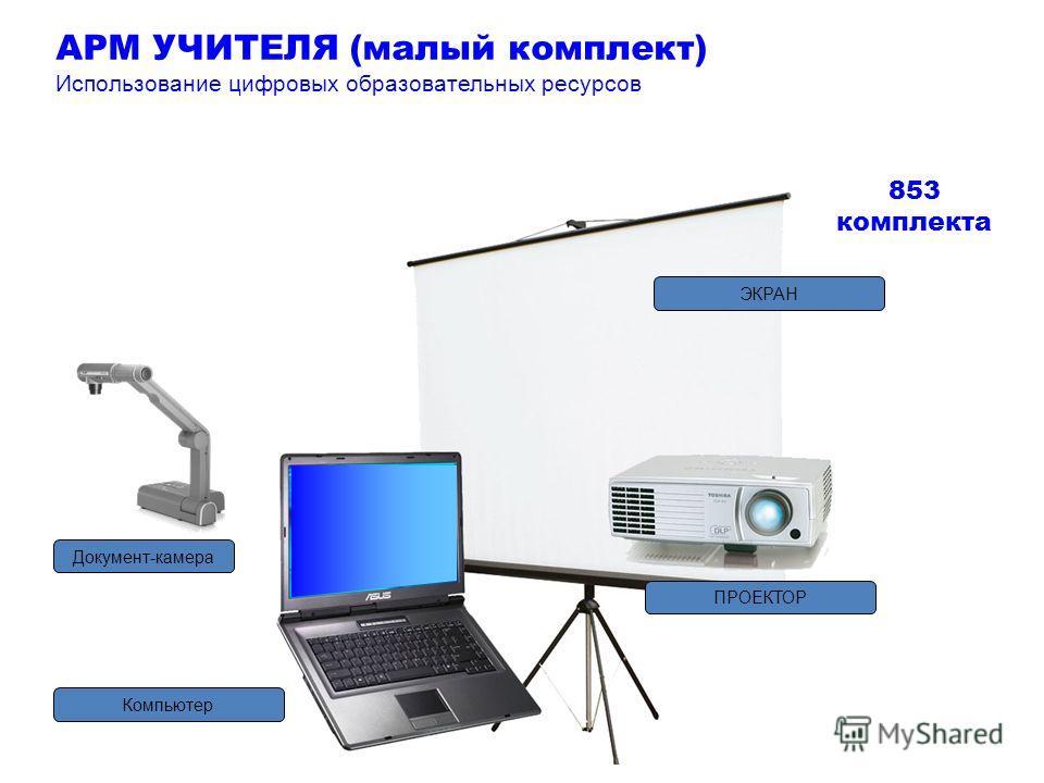 Компьютер ПРОЕКТОР ЭКРАН Документ-камера 853 комплекта АРМ УЧИТЕЛЯ (малый комплект) Использование цифровых образовательных ресурсов