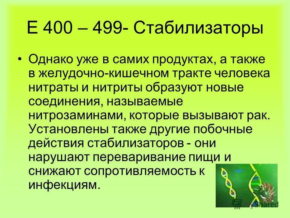 Е 400 – 499- Стабилизаторы Однако уже в самих продуктах, а также в желудочно-кишечном тракте человека нитраты и нитриты образуют новые соединения, называемые нитрозаминами, которые вызывают рак. Установлены также другие побочные действия стабилизатор