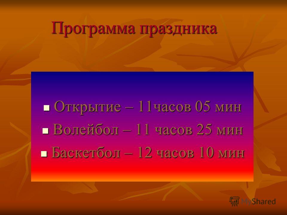 Программа праздника Открытие – 11часов 05 мин Открытие – 11часов 05 мин Волейбол – 11 часов 25 мин Волейбол – 11 часов 25 мин Баскетбол – 12 часов 10 мин Баскетбол – 12 часов 10 мин