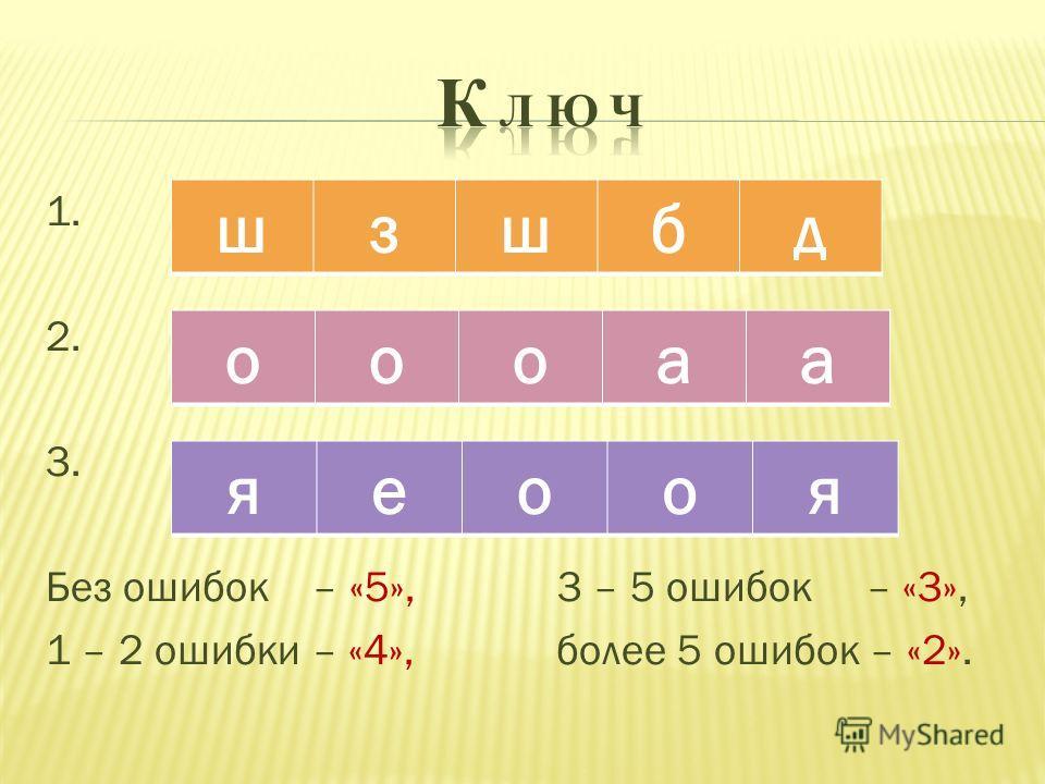 1. 2. 3. Без ошибок – «5», 3 – 5 ошибок – «3», 1 – 2 ошибки – «4», более 5 ошибок – «2». шзшбд оооаа яеооя