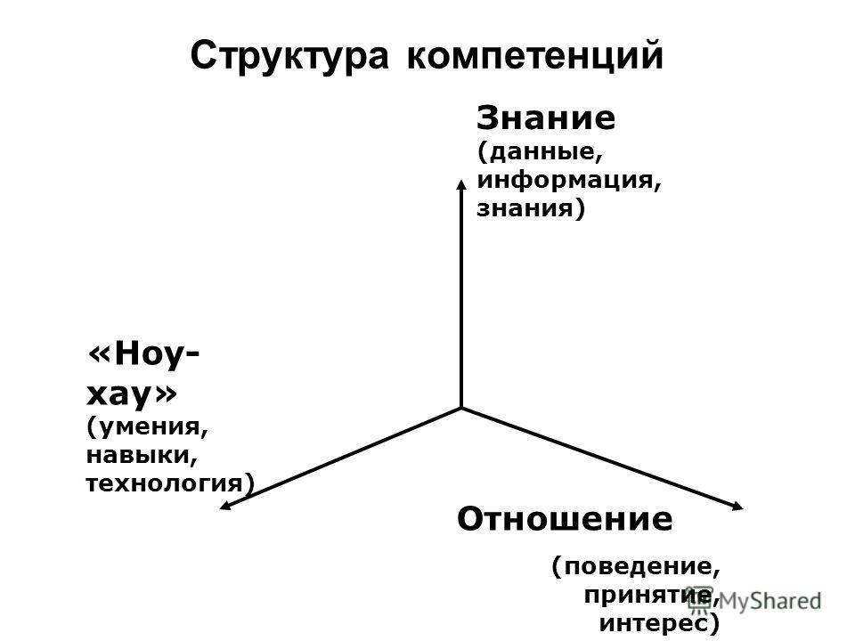 Структура компетенций Знание (данные, информация, знания) «Ноу- хау» (умения, навыки, технология) Отношение (поведение, принятие, интерес)