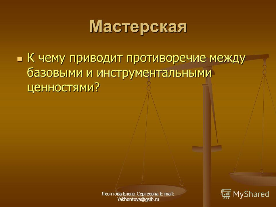 Яхонтова Елена Сергеевна E-mail: Yakhontova@gsib.ru Мастерская К чему приводит противоречие между базовыми и инструментальными ценностями? К чему приводит противоречие между базовыми и инструментальными ценностями?