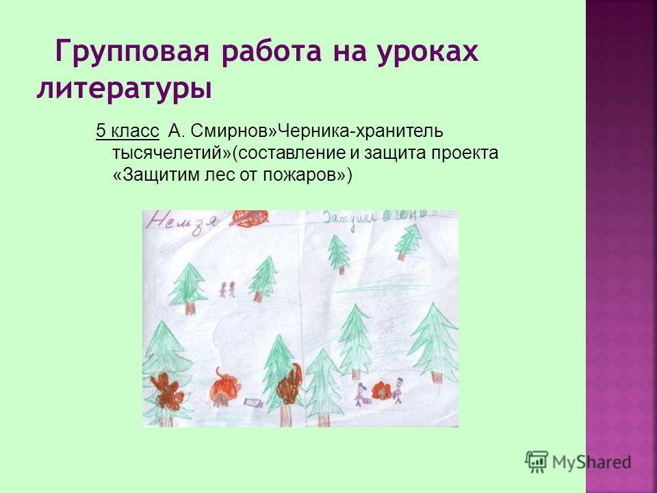5 класс А. Смирнов»Черника-хранитель тысячелетий»(составление и защита проекта «Защитим лес от пожаров»)